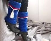 Blue Tassel Legwarmers, Tassel Boot Cuffs, Chunky Crochet Legwarmers Nordic Ethnic Folk Accessoires, Nautical Legwarmers, Winter Accessories