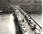 London Bridge photo, 1935 vintage London photo of city, BW photo decor