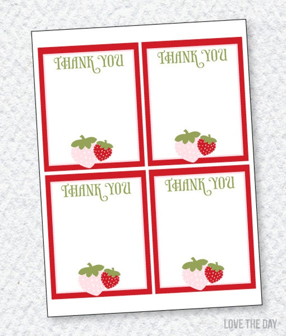 Strawberry Party PRINTABLE Thank You Cards by Love The Day