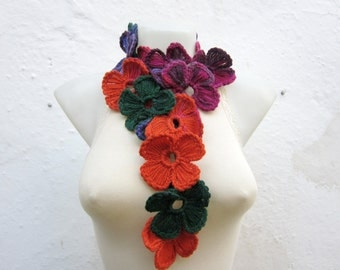 Scarf, Crochet Lariat Scarves, Flower Lariat Necklace, Colorful Crocheted Jewelery, Women Floral Accessories, Pink, Green, Orange