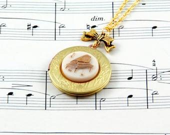 Piano Necklace, Music Locket, Vintage Locket Necklace, Music Jewellery