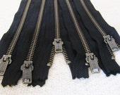 16inch - Black Metal Zipper - Brass Teeth - 5pcs