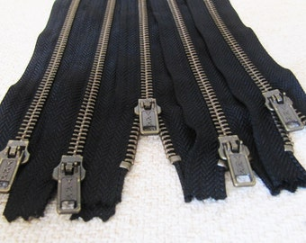 16inch - Black Metal Zipper - Brass Teeth - 5pcs