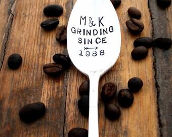 GRINDING SINCE ™ Stamped Coffee Spoon. Coffee Lover Gift. Personalized, Custom Teaspoon. The ORIGINAL Hand Stamped Vintage Coffee Spoons