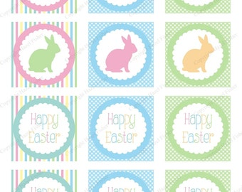 Pastel Bunnies Happy Easter cupcake toppers, printable party circles Easter, rabbits - Digital Instant Download CT017