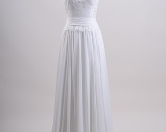 Lace wedding dress, bridal gown, sleevelss V-back alencon lace with chiffon skirt.
