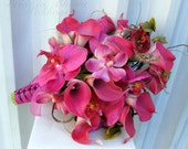 Hot pink calla lily orchid Wedding bouquet Brides bouquet