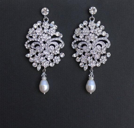 Bridal Statement Earrings Crystal Bridal Chandelier By