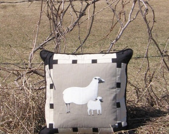 "Decorative Pillow Ewe and Lamb Square cushion 18"" x 18"" Country home decor Accent Black Gray White Beige Animal Farmhouse Eclectic"