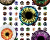 12mm Eyes Printout Collage Sheet of 42 Designs for Cabochon and Jewelry Making or Scrapbooking