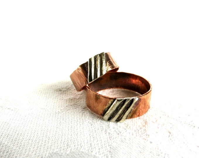 His and Hers Rings, Unisex Ring, Stripes, Ring for Her, Gift for Her, Rustic Ring, Wedding Band