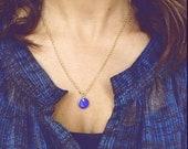 Indigo Blue Enamel Locket - Photo Charm Necklace