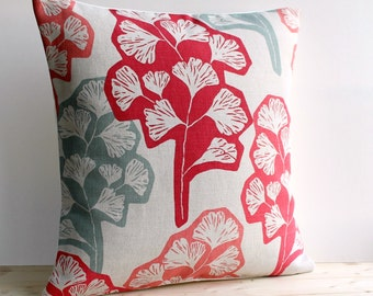 Contemporary Cushion Cover 16x16 Inch Modern Pillow Cover 16 Inch Pillow Sham - Gingko Red