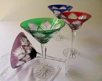 Vintage Crystal Martini Glasses DESIGN GUILD Starburst Cut to Clear New Years Eve Cocktail Barware Red Blue Green Amethyst Cut Glass Wedding