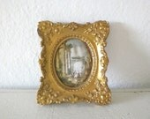 Vintage Framed Silk Roman Scene Gold Wood Frame Small Victorian Style Early 20th Century Home Decor GallivantsVintage