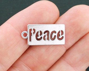 10 Peace Charms Antique Silver Tone - SC4062