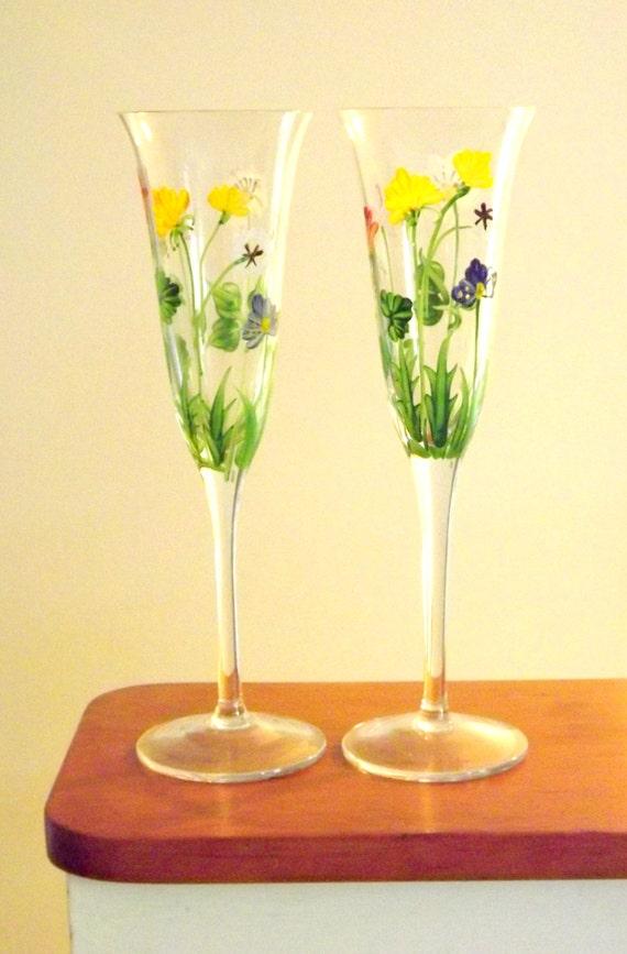 flower wine glasses pair of long stemmed glasses 2 wine. Black Bedroom Furniture Sets. Home Design Ideas