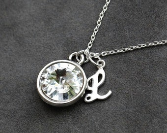 Initial Birthstone Necklace, April Birthstone Jewelry, Crystal Clear Custom Letter Jewelry, Push Present, Personalized New Mom Necklace