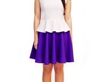 White and purple A line french lovely parisian vintage look  60s mod custom made