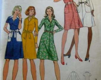Butterick 6944 Misses' 70s Half Size A-Line Shirt Dress Sewing Pattern Size 18 1/2 Bust 41