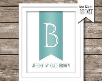 Couples Printable Art - Monogram Art - Personalized & Ampersand Intitial PRINTABLE Keepsake - Wedding or Anniversary Gift - Engagement Gift