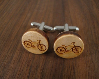 Men's Wooden Cuff Links - Bicycle Engraved in Maple Wood - Wedding, anniversary, any Special Occasion