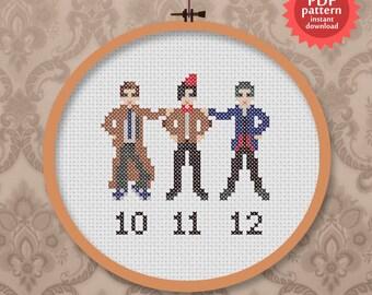 Three Doctors - Doctor No. 10, 11 and 12 PDF Cross stitch pattern