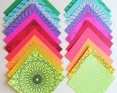 Geometric Origami Paper,  20 sheets, Medium 5 inch squares, Mixed bulk pack of Unique Modern Geometric Origami Paper,  Rainbow Pack