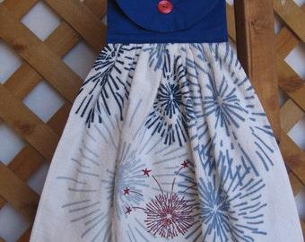 Patriotic Fireworks Kitchen Tea Towel Hanging Kitchen Dish Towel Appliqued Stars Fireworks SnowNoseCrafts