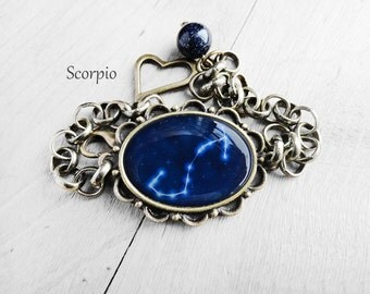 "Get 15% OFF - Handmade Resin "" Scorpio"" Constellation Sign Antique Bronze Oval Cabochon Bracelet - Happy Halloween SALE 2016"