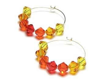 Fall Colors Swarovski Crystal Gold Hoop Earrings, Autumn Leaf Jewelry, Red, Orange, Tangerine Sun, Sunflower Yellow Colorful Gift For Women