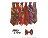 1970's Mens Necktie Pattern Simplicity 9400 One Size Jiffy 4 - 5 Inch Wide Tie Bow Tie DIY Wedding Fathers Day Gifts Vintage Sewing Patterns