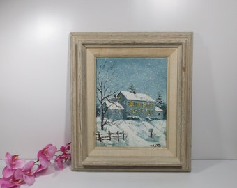 Sale Oil Painting on canvas stretched on board. Winter. landscape.Signed M. Otto, framed .Home decor Gift