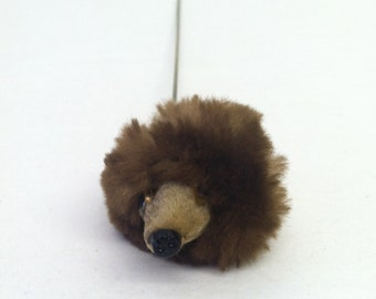 Vintage 1950s Hatpin Mink Fur Bear Head with Glass Eyes 50s Hat Pin