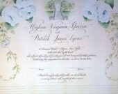 Marriage Certificate wedding sign in scroll.  Guests book alternative. Calligraphy & Custom Art to match your theme.