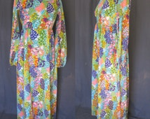 Vintage 1970s Pomare Tahiti Maxi, 70s Floral Hawaiian Dress in Beautiful Colors, Resort Wear, Empire Waist Size Medium