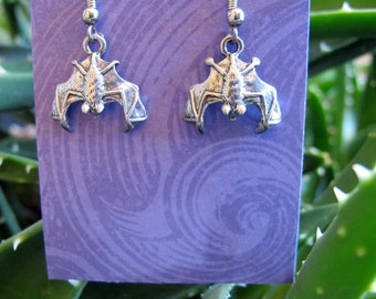 2 Batty - BAT Earrings Silver & Pewter Long Dangle Pair, new vintage