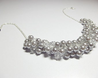 Silver Gray Pearl and Crystal Necklace, Wedding Bridesmaid Mothers Day Mom Sister Birthday Jewelry Gift, Valentines Day