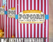Popcorn Bag Printable Template - INSTANT DOWNLOAD - Vintage Circus Aqua Combo Party Decorations by Sassaby