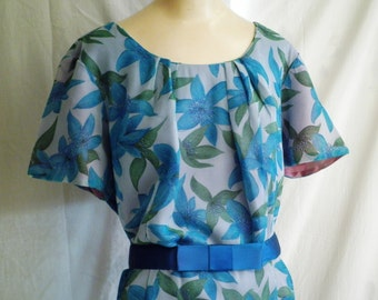 1960s Dress Floral Wiggle Dress XL Blue Chiffon Bombshell Dress Deadstock NWT Bust 46 x 36 x 48  XL