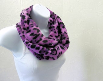Animal Print Infinity Scarf Purple and Black Winter Fleece Leopard Loop Scarf Handmade by Thimbledoodle