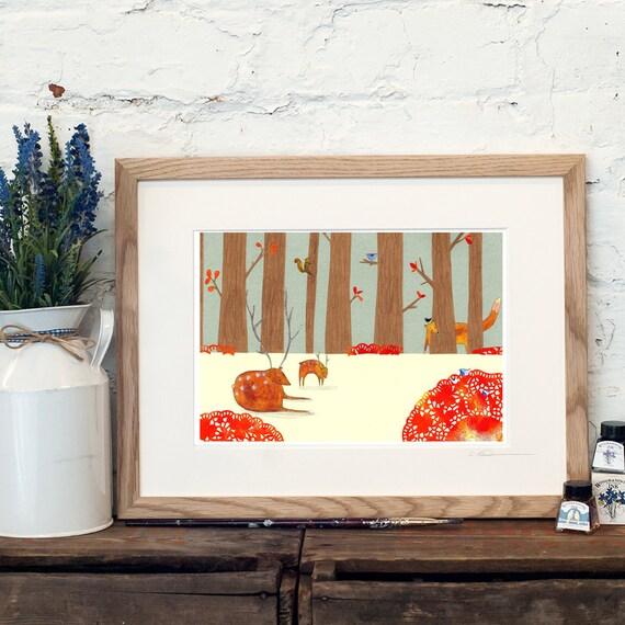 Woodland Print - Nursery Woodland Art - Woodland Nursery - Deer - Squirrel - Fox Print - Forest Print - New Baby Gift - Baby Birthday Gift