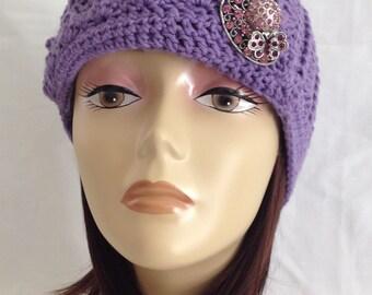 cloche, flapper hat,brimmed cloche with rhinestone vintage style brooch 100% cotton thread