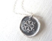 Snowflake Frozen wax seal necklace recycled silver pendant for Valentine's day