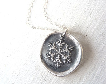 Snowflake Frozen wax seal necklace recycled silver pendant Frozen Elsa Disneybound