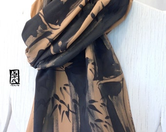 Mens Scarf Handpainted Silk, Mens Gift,  ETSY, Brown and Black Zen Bamboo Scarf, Japanese Scarf, Fathers Day Gift, Takuyo 14x72 inches.
