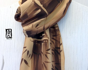 Hand Painted Silk Scarf Men, Handmade Mens Scarf, Mens Gift Scarf, Brown Zen Bamboo Scarf, Sand and Dark Brown, Silk Crepe, 14x72 inches