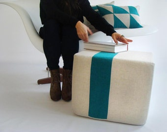 Natural Pouf/Floor Pouf/Ottoman/Stripe Pouf/Teal Stripe/Urban/Modern/Floor Pouf/Foot Stool/Nursery Pouf/ Zigzag Studio Design