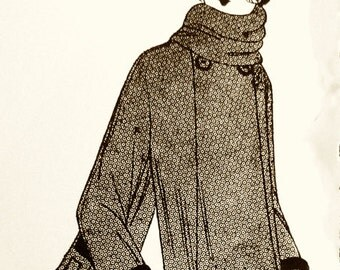 1920s vintage coat pattern, Slender style with wider, wavy skirt at the bottom.