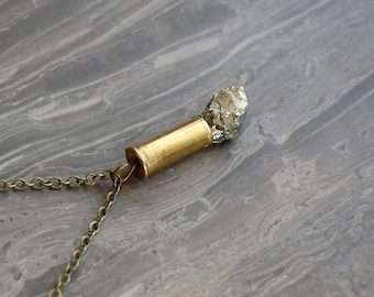 Pyrite Crystal Mini Bullet Necklace